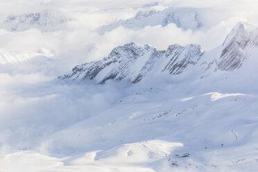 Germany, Bavaria, Grainau, Zugspitze, view to snowy landscape, Zugspitzbahn - MMAF00629