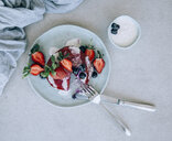 Beetroot pancake with fresh berries and yogurt dip - MBEF01443