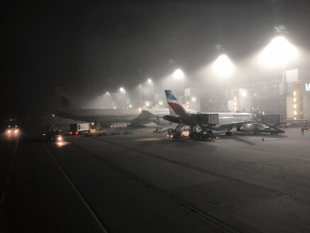 Foggy airport scene early morning. Munich aiport. Bavaria, Germany - ABA02215