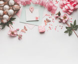 High angle view of pink objects on a table - INGF00471