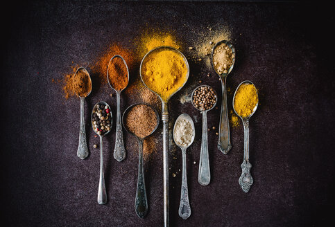 Colorful spices on silver spoon - INGF00495