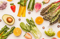 Fresh fruit and vegetables on a white background - INGF00561