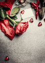 High angle view of valentines day greeting card with roses - INGF01158