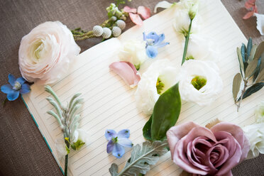 Still life of blank open note book with pastel colour flower heads and stems, overhead view - CUF46282
