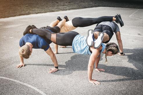 People during workout, pushups - HMEF00038