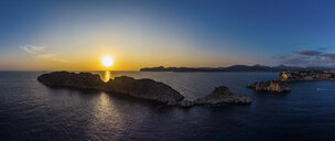 Spain, Mallorca, Region Calvia, Aerial view of Isla Malgrats and Santa Ponca at sunset - AMF06043