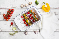 Vegetarian grill spits, orange and yellow paprika, tomato, red onion, zucchini and champignons - LVF07467