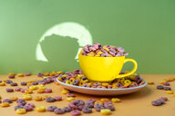 Cup and plate full of colourful cereals - AFVF01845
