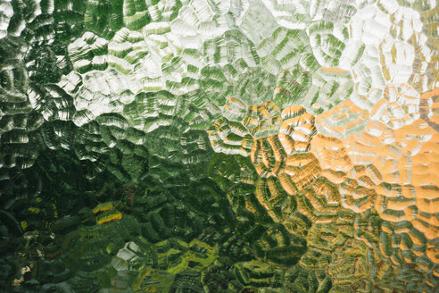 Glass window with textures and green and orange color - GEMF02420
