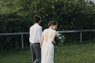 Rear view of bride and groom walking on meadow - ALBF00688
