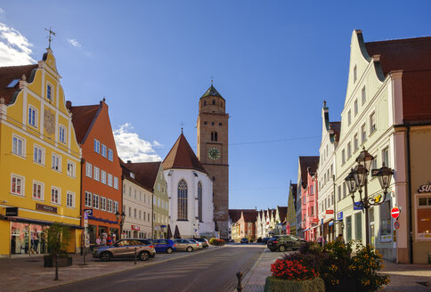 Germany, Bavaria, Swabia, Donau-Ries, Donauwoerth, Reichsstrasse and Cathedral of Our Lady - SIEF08044