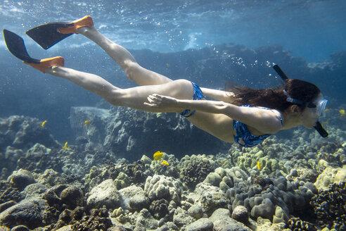 Side view of woman snorkeling in sea - CAVF49922