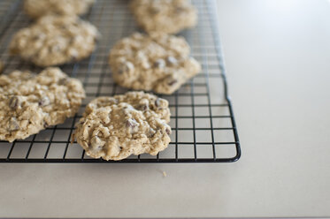 Close-up of cookies on cooling rack at home - CAVF50034