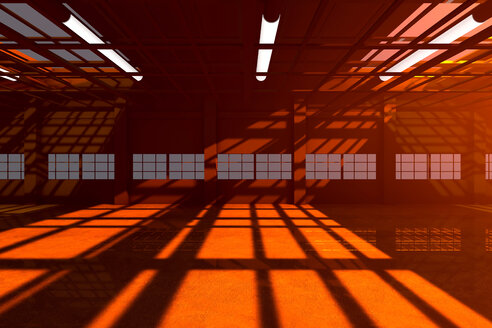 Architecture visualization of an empty warehouse, 3D Rendering - SPCF00287