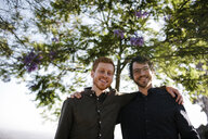 Low angle portrait of happy handsome brothers with arms around standing against trees at park - CAVF50138