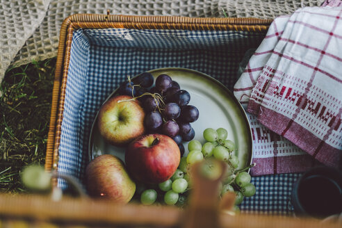 High angle view of fruits with napkin in picnic basket at park - CAVF50240