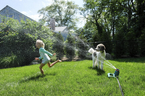 Dog looking at happy girl playing with sprinkler on grassy field in yard - CAVF50443