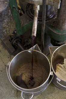 Fresh pumpkin seed oil running out of the hydraulic press at an oil mill - HLF01133