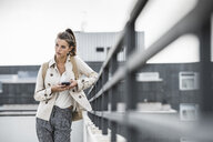 Young businesswoman using smartphone in he city - UUF15638