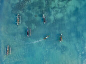 Indonesia, Lombok, Aerial view of banca boats - KNTF02196