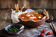 Tomato soup with sour cream and sesame sticks - SBDF03798
