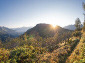 Italy, Lombardy, Bergamasque Alps, hiking trail to Monte Gardena, Cima Bagozza against the sun - LAF02111