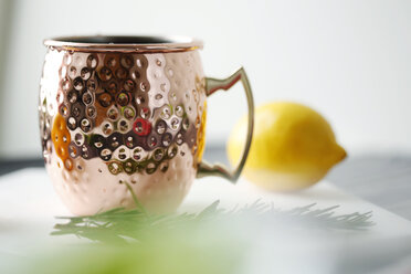Close-up of drink in mug with lemon and rosemary in plate - CAVF50919