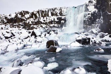 Idyllic view of waterfall during winter - CAVF51009