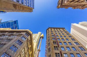Australia, New South Wales, Sydney, cityview, Sydney Tower, worm's eye view - THA02305