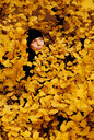 Close-up of a man hiding in yellow leaves - INGF03605