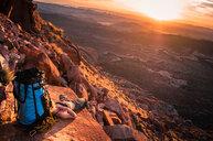 Rock climber, Desert Towers, Indian Creek, Moab, Utah, USA - ISF20021