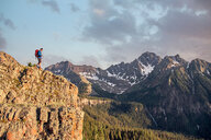 Man hiking, Mount Sneffels, Ouray, Colorado, USA - ISF20111