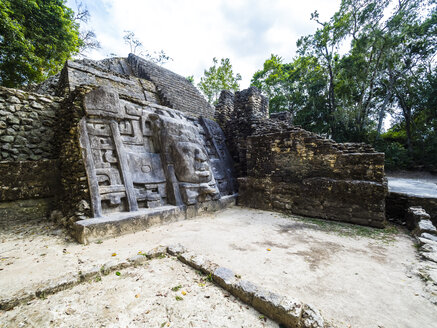 Central America, Belize, Yucatan peninsula, New River, Lamanai, Maya ruin, Lamanai Mask Temple - AMF06116