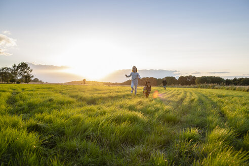 Two children with a dog running over a field at sunset - OJF00269