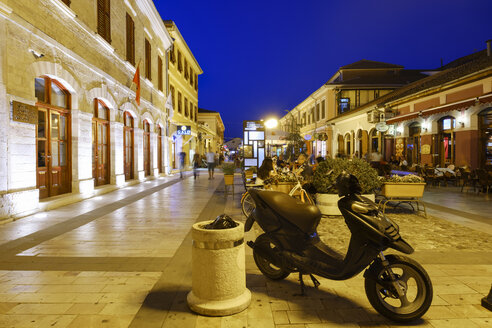 Albania, Shkoder, pedestrian area Rruga Kole Idromeno at blue hour - SIE08058