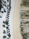 Indonesia, Lombok, Kuta, Aerial view of Seger beach, sunloungers and beach umbrellas from above - KNTF02284