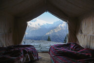 Yurt with scenic mountain view, Jaikuni, Indian Himalayan Foothills - HOXF03948