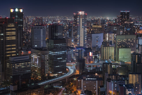 Japan, Osaka, Aerial view at night - EPF00505