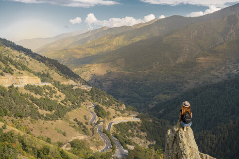 French Pyrenees, hiker on viewpoint - AFVF01911