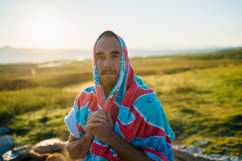Portrait Of Man Wrapped In Towel At Mammoth Lakes - TGBF00946