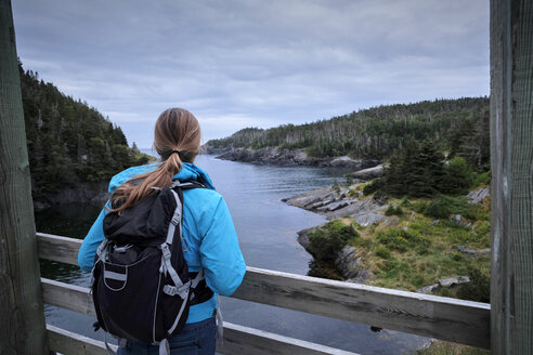 Rear view of young female hiker with backpack on bridge looking at river - TGBF01262