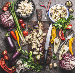 High angle view of fresh vegetables and food on a table - INGF05627