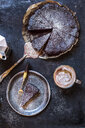 Swedish kladdkaka, dark chocolate cake, swedish brownie, with coffee, close-up - SBDF03804