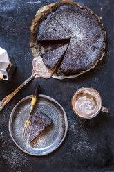 Swedish kladdkaka, dark chocolate cake, swedish brownie, with coffee, close-up - SBDF03804