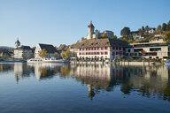 Switzerland, Canton of Schaffhausen, Schaffhausen, Old town, Munot Castle and Rhine river - ELF01931