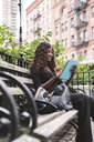 Low angle view of smiling businesswoman using tablet computer while sitting on bench in city - CAVF52973