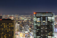 High angle view of illuminated modern cityscape against sky at night - CAVF53021