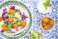 Falafel, leaf salad, red and white cabbage and yogurt sauce with mint on wrap - LVF07534
