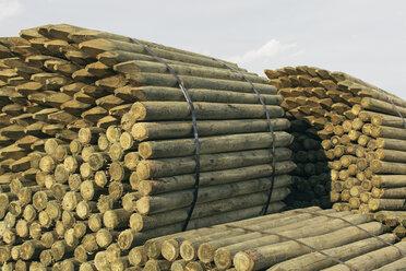 Piles of cut lumber, Eastend, Saskatchewan, Canada. - MINF09288