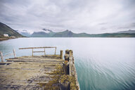 Norway, Senja, ramshackle jetty at the coast - RSGF00080